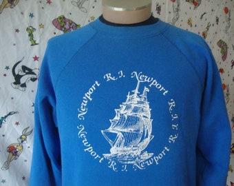 Vintage Newport Rhode Island Pirate Ship Blue Crew Neck made in USA Sweatshirt Size L