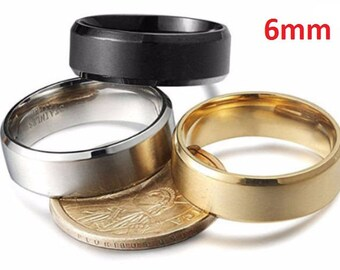 6mm Titanium Men's & Women's Stainless Steel Wedding Rings (18K Gold, Silver or Black).  engagement ring, promise ring, wedding band
