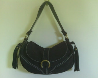 Cute Brown Suede and Leather Shoulder Bag with Tassels, A.N.A