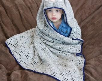Bunny Crochet Hooded Blanket (1-3 yrs)- Ready to Ship!