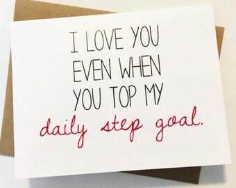 Funny Valentine - Cute Valentine - Anniversary Card - Love Card - Unique Card - Clever Love Card - Fit Couple
