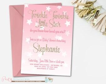 Twinkle Twinkle Little Star Baby Shower Invitation, Star Baby Shower Invitation, Twinkle Twinkle Little Star Invitation, Pink and Gold