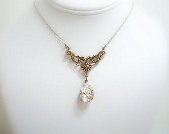 Bridal necklace, Vintage style necklace, Wedding jewelry, Swarovski crystal necklace, Antique Gold necklace, Bridesmaid necklace, Teardrop