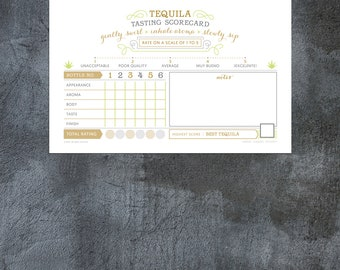new! TEQUILA  tasting CUSTOM scorecard choose bottle numbers name EMAILED print at home cinco de mayo