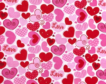 Valentines fabric, Pink and Red Hearts fabric, Love fabric 100% cotton for Quilting and general sewing projects.