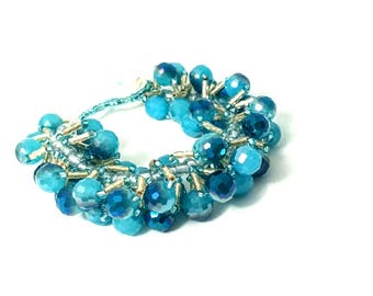 Blue Beaded Bracelet, Blue Spiral Bracelet, Bracelet, Blue Bracelet, Beaded Bracelet, Spiral Bracelet