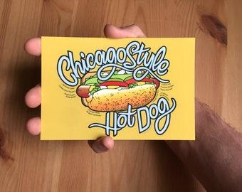 "Chicago Hot Dog Postcard - 6"" x 4"""