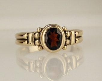 Gold Garnet Ring/ One of a Kind/ January Birthstone/ Oval Garnet/ Bezel set/ Simple/ Size 9.5/ 14ky gold/ Denim and Diamonds Jewelry/ R1215