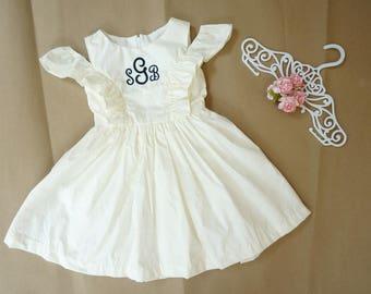 Ivory flower girl dress Monogram girls dress White flower girl dress Country flower girl dress Rustic flower girl dress