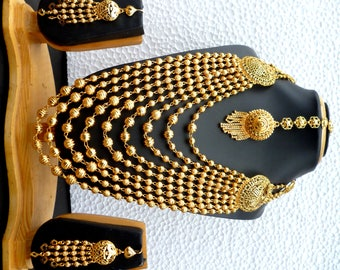 22K Gold Plated Designer 9 Lines Necklace Earrings Tikka Indian Wedding Jewelry