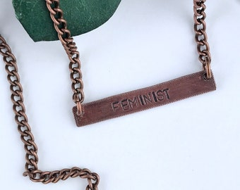 Feminist Copper Oxidized Bar Necklace