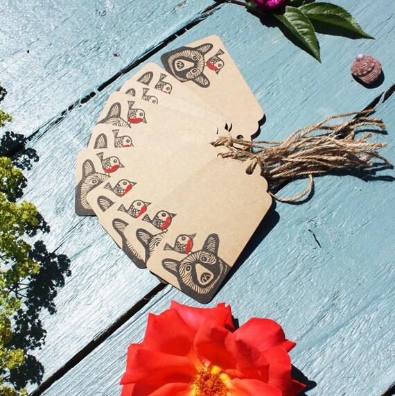 10 Bear and Robin Gift Tags, Original Linocut, Linoprint, Hand Printed Stamp, Name Tags, Brown Kraft Card, Free Postage in UK,