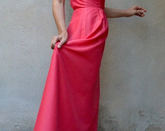 Pink maxi french vintage 90's dress long pink dress long evening dress Bohemian Maxi dress pink dress Long evening elegant dressed
