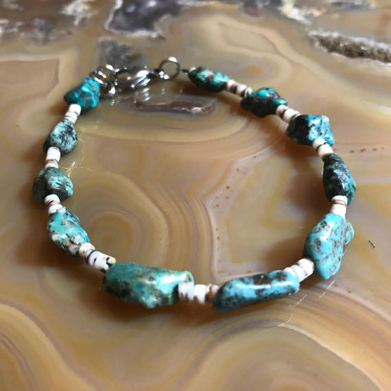 Natural Turquoise Nugget with Porcupine Quills Bracelet