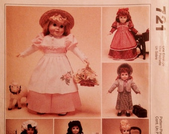 "Sewing Pattern 18"" Doll Clothes Uncut 1999 Dresses Skirt Apron Jackets Bonnet Pinafore American Girl"