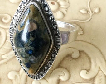 Sterling Silver Agate Ring Navette Shaped Vintage Boho Jewelry