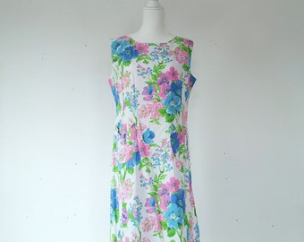 1960s Blue White Floral Shift Dress 60s Vintage Pink Green Flower Print Cotton Sundress Large Multicolor Sheath Summer Garden Party Dress