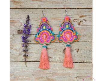 Extra long tassels earrings Oversized pink purple violet Big multicolored boho festival style Tribal clothing Large huge jewellery Soutache