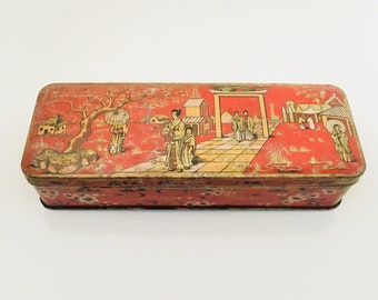 A Moench Vintage French Tin Box Asian Theme.
