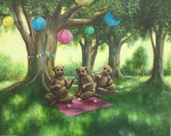 The Teddy Bear Picnic, Large Original Painting, Surrealism,Summer, Woods, Forest, Party, Bears, Costumes, Masks, Teap Party, Odd, Strange