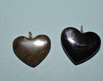 21 mm Golden Sheen Obsidian Heart Pendant (1060342)