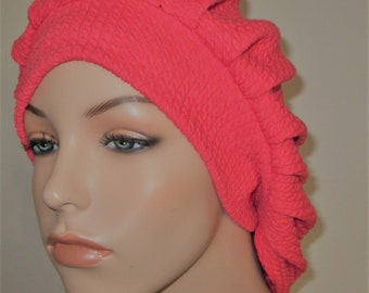 Womens Coral Textured Cotton Pleated Snood, Hijab, Hair Loss, Chef Hat