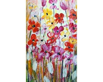 Tulips Spring Flowers Oil Painting Original Canvas by Luiza Vizoli Impasto Artwork Ready to Ship