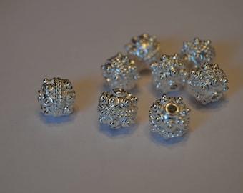 Bright Silver Bali Beads!!! 10 mm