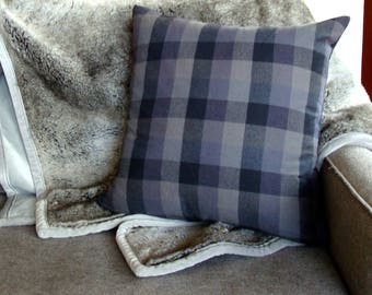 "Plaid Throw Pillow Cover - 20"" x 20"""