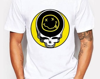 Nirvana Skull T Shirt, Nirvana Cartoon Shirt or Nirvana Guitars and Amp Tshirt, Your Choice from 3 Styles