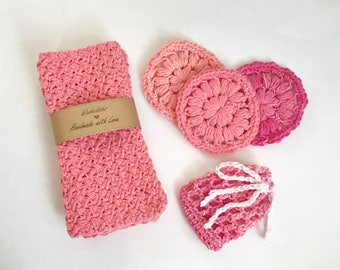 Bath and Body Gift Set - Bath and Beauty - Washcloth Set - Face Scrubbies Set - Bath and Spa - Gift for Her - Gift for Mom - Gift for Teen