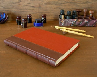Leather spine lined journal - 6x8.5in. 15x22cm - French goatskin leather with five raised bands and rust book cloth - Ready to ship