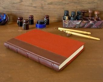 Diario de la columna forrada de cuero - 6x8.5in. 15x22cm - pieles de cabra francés con cinco bandas elevadas y moho libro paño - listo para enviar