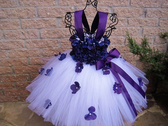 White plum flowers white tutu dress flower girl gown mightylinksfo