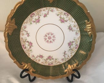 Antique Limoges green and gold scalloped edge plate