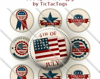 Patriotic 4th of July Sayings Bottle Cap Hipster Digital Art Collage Set 1 Inch Circle 4x6 - Instant Download - BC484
