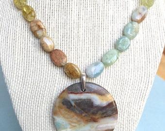 Artisan Gemstone Necklace with Aquamarine and Jasper Stones, Hypoallergenic Necklace