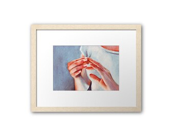 Mother Gift: Print of watercolor art painting - Her Hands. Art by Helga McLeod. HM090