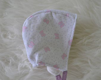 Newborn & 12-18 Months Pink Bows Valentine's Day Bonnet, flannel lined, pilot hat, baby bonnet, soft, vintage fabric, purple ties
