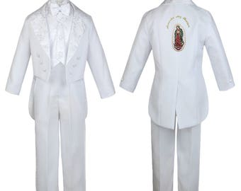 New Baby Toddler Boys WHITE Christening Baptism 1st Communion 5 (or 6 with stole) pieces Tail Suit Tuxedo BY011 Guadalupe 1