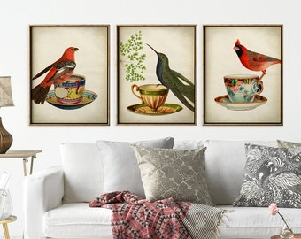 Bird print set of 3, b birds on a teacup print, bird poster, teacup and bird, coffee cup breakfast, bird illustration, bird art