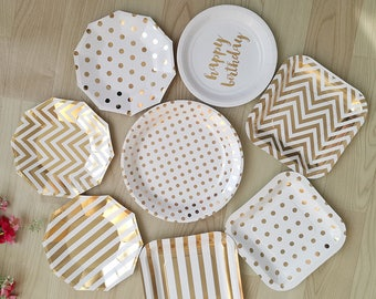 Gold paper plates - chevron stipes polka dots party plates bridal shower birthday party paper plates golden plates Christmas party & 8 x party paper plates gold paper plate chevron plates disposable ...