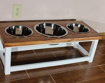 Farmhouse style elevated dog feeder with 3 bowls. Large size dog feeding station. Combo dog bowl stand with 2 large and 1 extra large bowls.