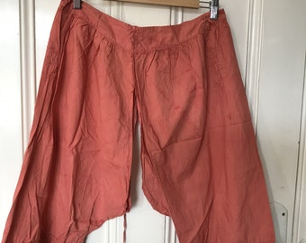 Antique French ladies terracotta cotton French knickers shorts short bloomers size S UK 10