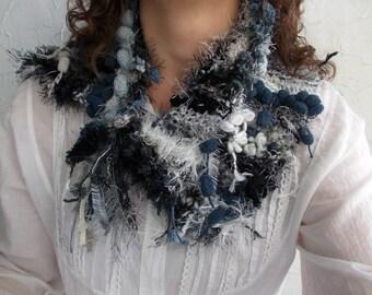 Rustic cozy neck warmer with pin brooch... hand knit art yarn boho  scarf, gray white black knit pom pom neck warmer, textured neck warmer