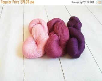 Sale 10% Linen yarn 300gr  weaving yarn, 1ply thin yarn, pink, purple