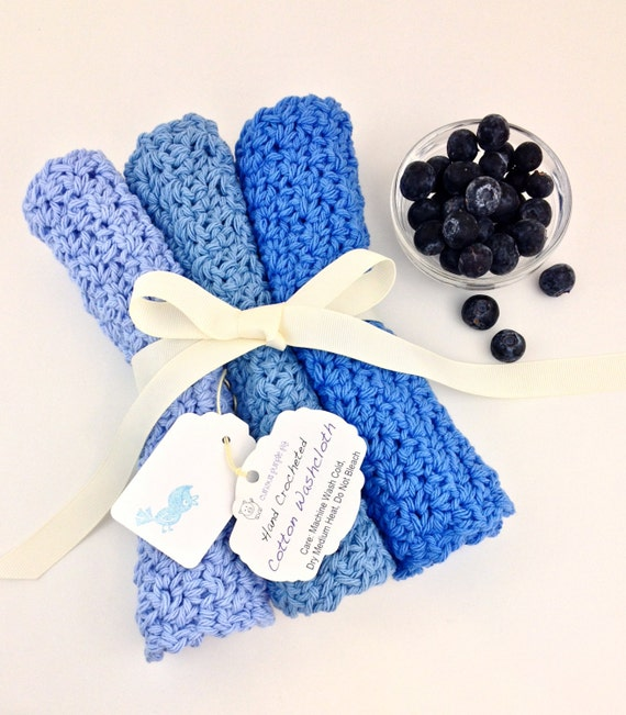 Dish And Wash Cloths Blue Dishcloth Handmade Washcloth Crochet Washrag Blue Denim Light Blue Blueberry Knit Dishrag Blue Cotton Washcloth by Etsy