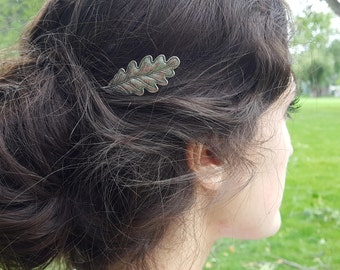 Lg. Oak Leaf Antiqued Silver Bobby Pin, Hair Pin, Woodland Fall Wedding, Rustic, Nature, Forest, Garden Inspired Hair Pins