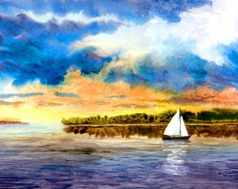 Sailboat painting watercolor PRINT seascape at Sunset Clouds landscape Nautical art GICLEE 8x10