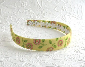 Girls Fabric Covered Headband ~ Yellow Floral Girls Headband ~ Plastic Headband ~ Girls, Adults, Women